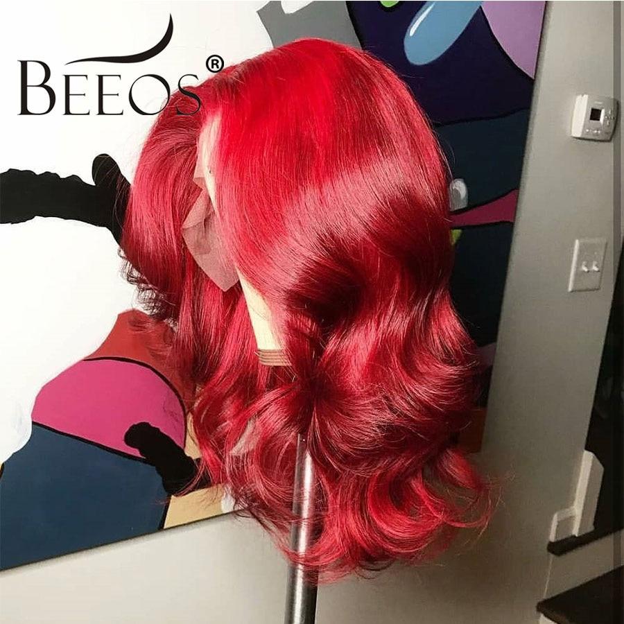 Beeos волнистые цветные красные парики 150% женские 13*6 кружевные передние человеческие волосы парики предварительно выщипанные глубокие разделенные бразильские Remy transapent HD кружева - 2