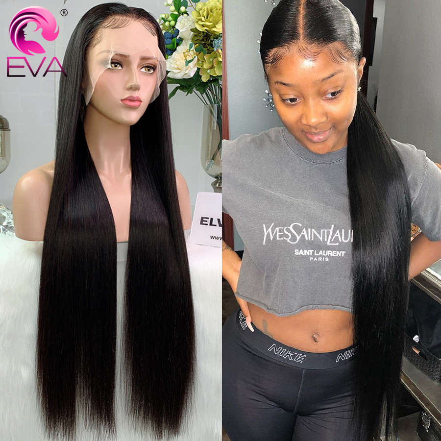 Eva 250% Density Long Wig 32 Inch Straight 13x6 Lace Front Human Hair Wigs Pre Plucked With Baby Hair Brazilian Remy Frontal Wig