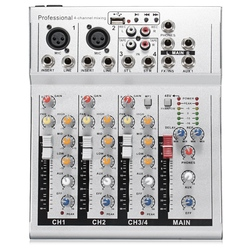 FFYY-4 Channels Live Dj Audio Mixer Sound Mixing Console with Usb Mp3 Jack for Karaoke Ktv Music Show Party with Bluetooth Eu Pl