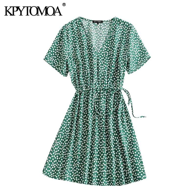 KPYTOMOA Women 2020 Chic Fashion Floral Print Pleated Mini Dress Vintage V Neck Short Sleeve Side Bow Tied Female Dresses Mujer