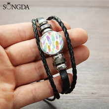 SONGDA Novelty Cartoon Feather Leaf Leather Bracelets & Bangles Art Photo Glass Snap Button Charm Bracelet Femme Cuff Wristband(China)