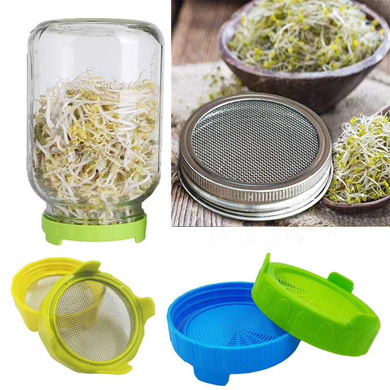 Seed Sprouter Germination Cover Kit Sprouting Mason Jars With Stainless Steel Strainer Lids Plate Grow Germinator Seedling Tray