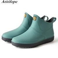 Rain boots men's short boots kitchen non slip rubber shoes soft bottom wear labor insurance fashion Unisex waterproof shoes