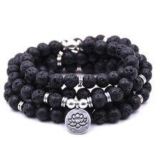 Bracelet ou collier en Amazonite mate pour femmes, 108 perles de Mala, breloque de Yoga, Lotus, bijoux de prière de bouddha, choix multiple