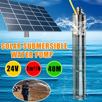 24V DC 284W Solar Submersible Water Pump 2m3/Hour 40M Head Deep Well Brushless Solar Powered Water Pump with Internal Controller