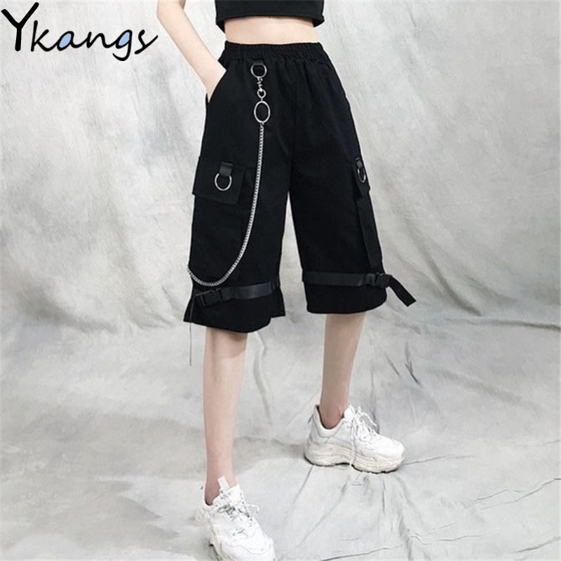 Harajuku Streetwear Women Casual Harem shorts With Chain Solid Black Cargo Gothic Cool Fashion Hip Hop Long Trousers Capris