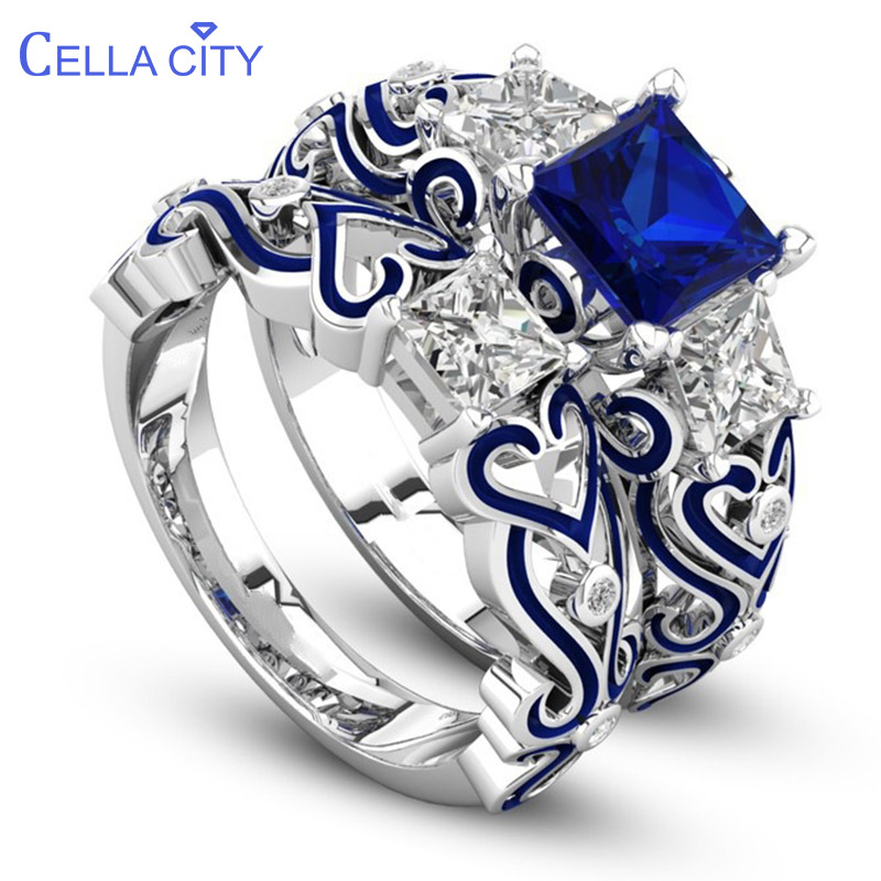 Cellacity Fashion 925 Silver Rings For Women With Blue Sapphire Gemstone Red Green Purple Color Fine Jewelry Party Gift Wholesal