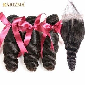 Image 5 - Karizma Brazilian Hair Weave Bundles With Closure Brazilian Loose Wave 3 Bundles With Closure Non Remy Human Hair With Closure