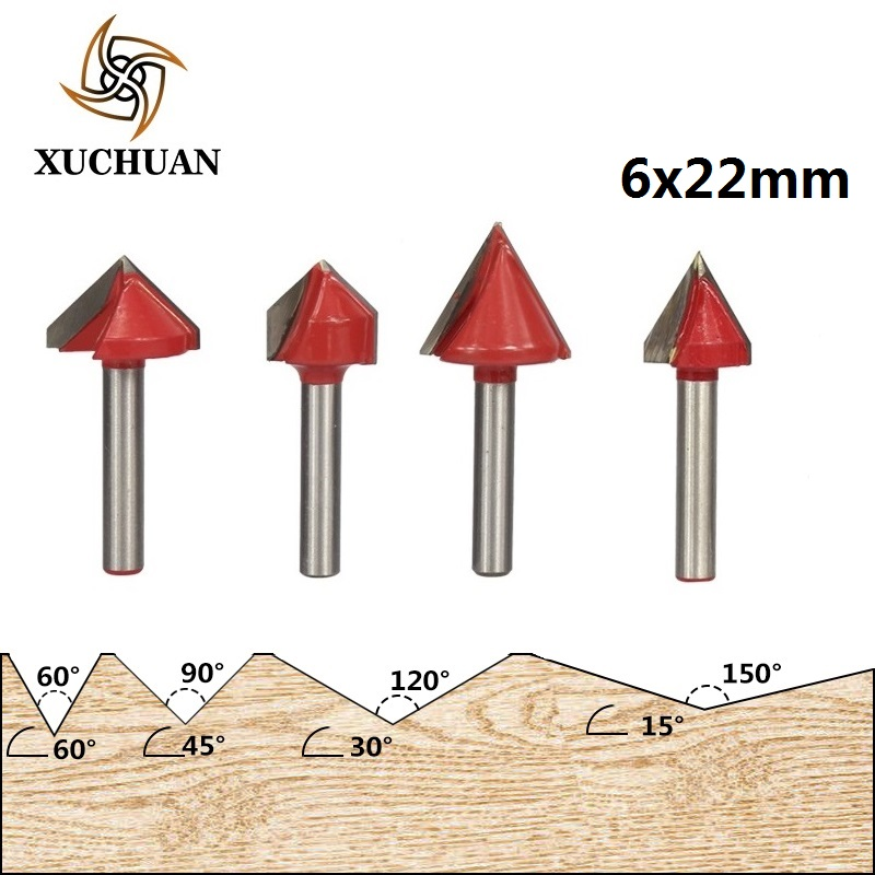 1pc 6mm Shank 60/90/120/150 Degrees V Shape Wood Milling Cutter Carbide End Mill Chamfer V Groove Wood Router Bit