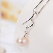 Gn pérola genuien 925 prata esterlina natural de água doce pérola pingentes colares 7-8mm corrente redonda gnpearl jóias para mulher