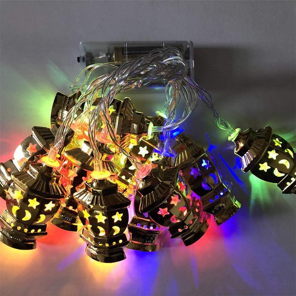 Battery Powered Ramadan Kareem Lights Star Moon Palace LED Eid Mubarak Decorative String Lights Muslim Islam Party Supplies