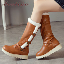 Купить с кэшбэком Meotina Winter Snow Boots Women Boots Warm Plush Flat Platform Knee High Boots Buckle Round Toe Shoes Female New Plus Size 34-43