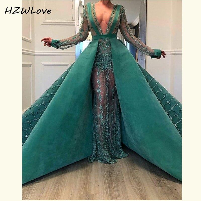 Dubai Arabic Overskirts Evening Dresses Deep V Neck Major Beading Illusion Full Sleeves Prom Dress See Through Robe De Soiree