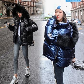 NEEDBO Winter Jacket Women Parka Fur Hood Warm Thicken Ladies Puffer Coat Glossy Parkas Mujer Casaco
