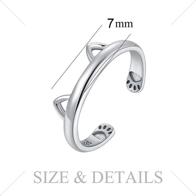 Lovely Cat Ear Sterling Silver Ring