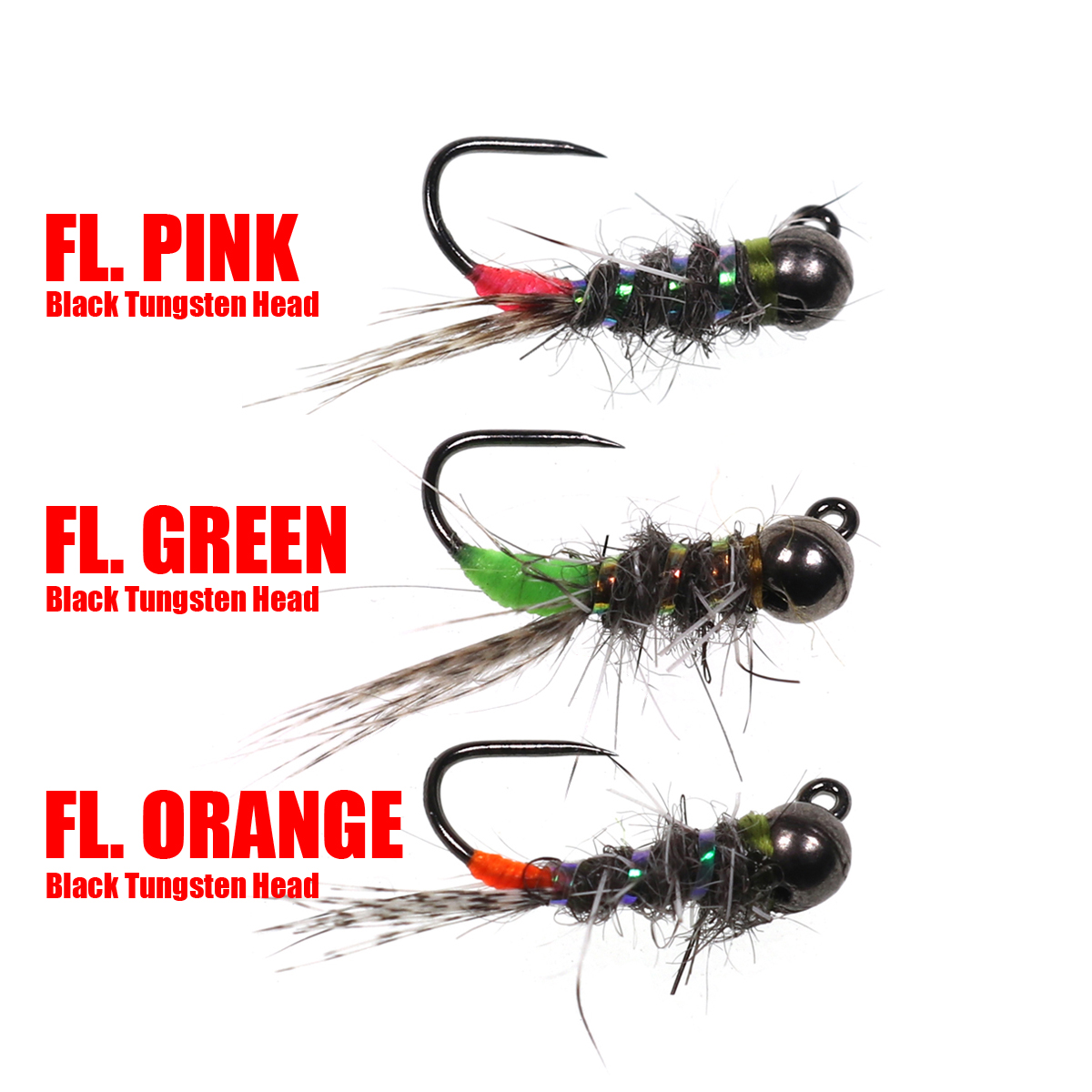 ZZB-lure 6pcs #12 Tungsten Bead Head Nymph Fly Rainbow Trout Fly Fishing