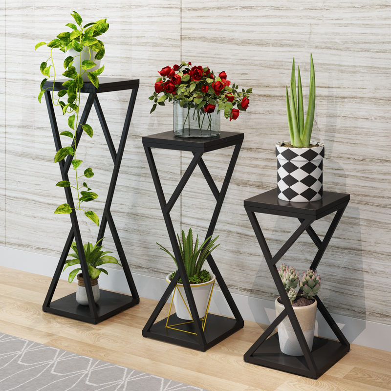 Flower Metal Stand Metal Floor Shelf Wood Indoor Plant Stand Iron Stand Planter Flower Pot Stand Nordic Metal Home Garden Decors