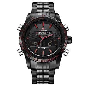 Image 5 - NAVIFORCE люксовый бренд, мужские модные спортивные часы, мужские кварцевые цифровые аналоговые часы, мужские полностью Стальные наручные часы, мужские часы