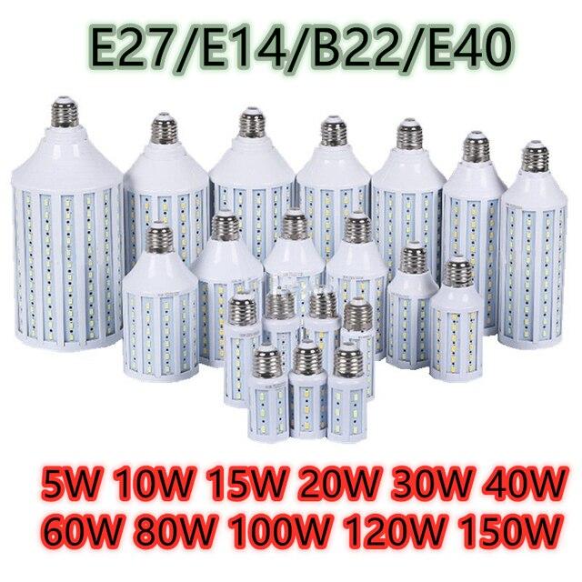 E27 B22 E40 E14 LED lamba AC 220V ampul LED 5W ~ 150W 5730 2835SMD mısır ampul enerji tasarruflu lamba ev dekorasyon için ışık