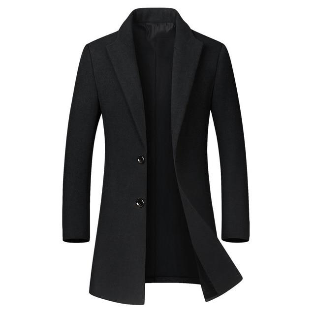 Winter Wool Jacket Men's High-quality Wool Coat casual Slim collar wool coat Men's long cotton collar trench coat 3