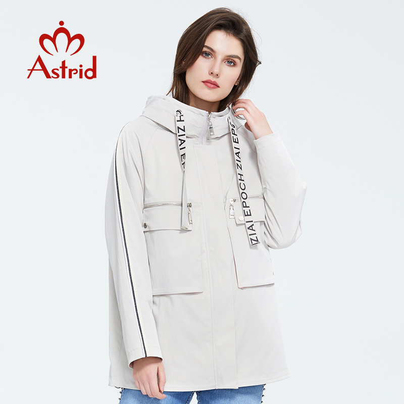Astrid 2020 New  Spring Fashion Short Trench Coat Hooded High Quality Female Outwear Trend Loose Urban Jacket Thin Coat ZS-3081