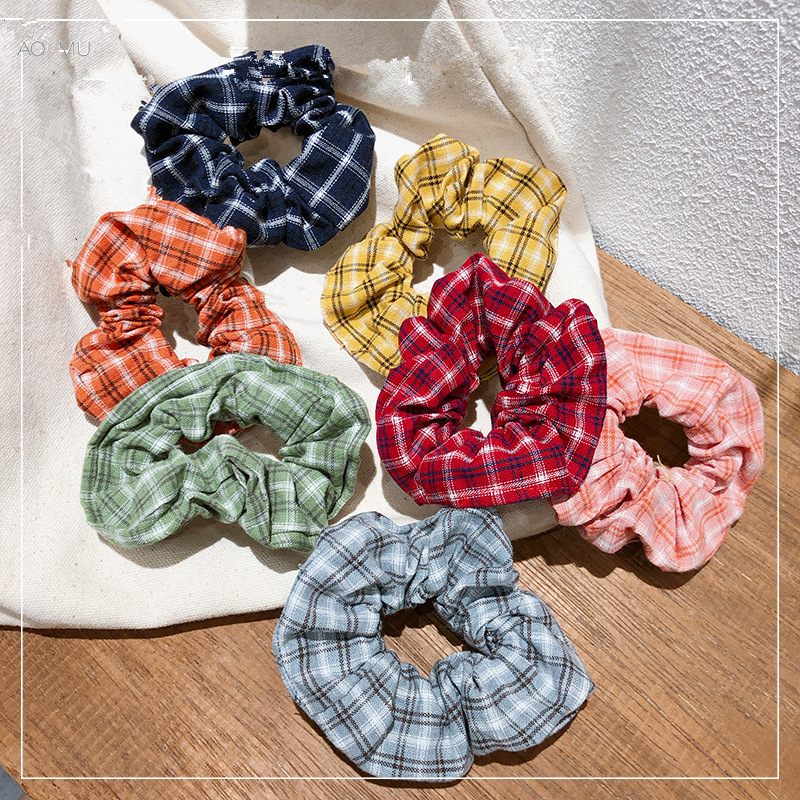 AOMU School Style Hair Scrunchies Hair Rope Stripe Grid Hair Tie Elastic Winter Autumn Hair Bands For Women Girls Ponytail