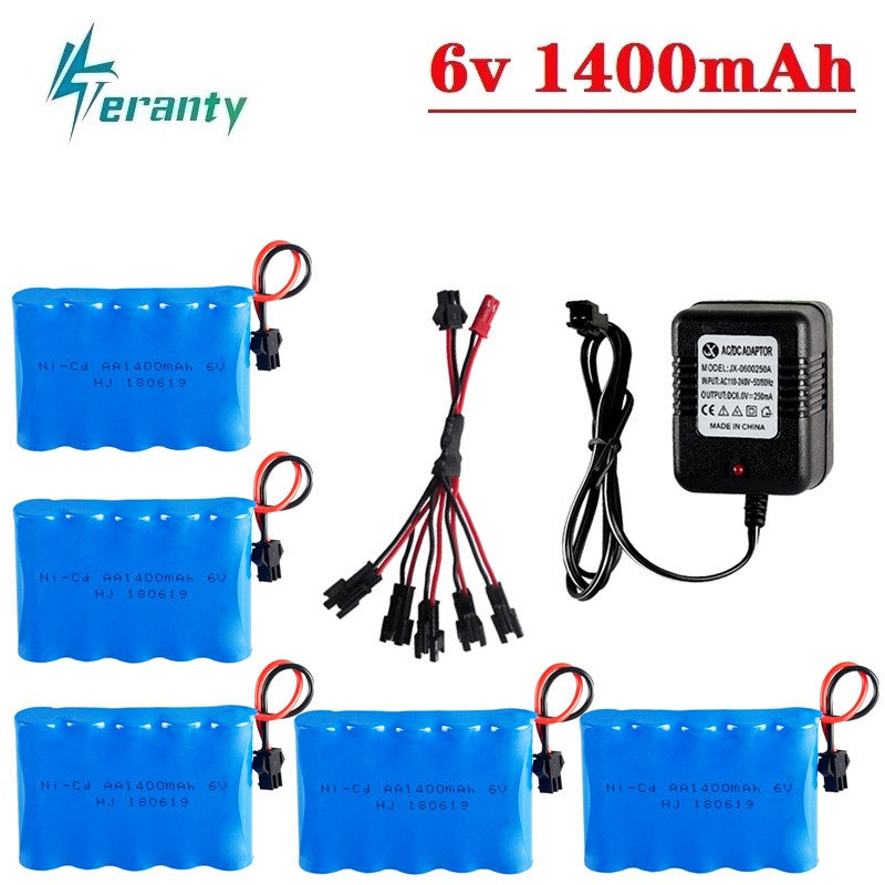 6v 1400mAh Battery and Charger For RC Cars Robots Tanks Trucks Gun Boats 6v NiCD Battery Aa 2400mah 6v Rechargeable Battery Pack image