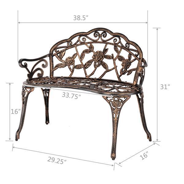"""38.5"""" Cast Aluminum  Garden Bench  5"""
