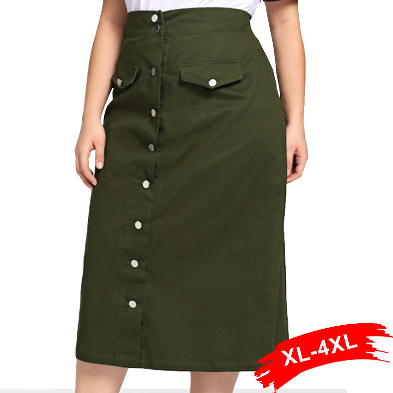 Plus Size Front Button Up Midi Long Skirts 4Xl 3Xl Autumn Army Green Casual Loose A Line Skirts With Two Pockets