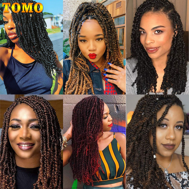 TOMO Bomb Twist Crochet Braids Pre-looped Passion Twist Crochet Hair Ombre Spring Twist Synthetic Braiding Hair Extensions 14 6