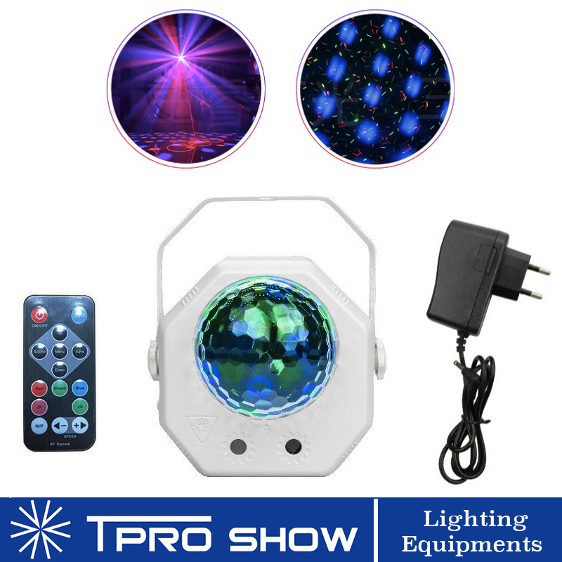 Remote RGB LED Disco Light Rotating Magic Ball Laser Projector 2in1 Musci Reaction Stage Lighting Effect For Wedding Chrismas DJ