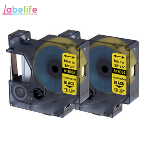 Labelife 2Pack 18054 Black on Yellow 9mm Heat Shrink Tubing for DYMO Rhino Industrial IND LabelWriter and Label Printer S0718290(China)