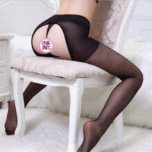 Nova sexy oco para fora antiderrapante conveniente coxa meias altas mulheres racy fina respirável aberta virilha meia remoção livre
