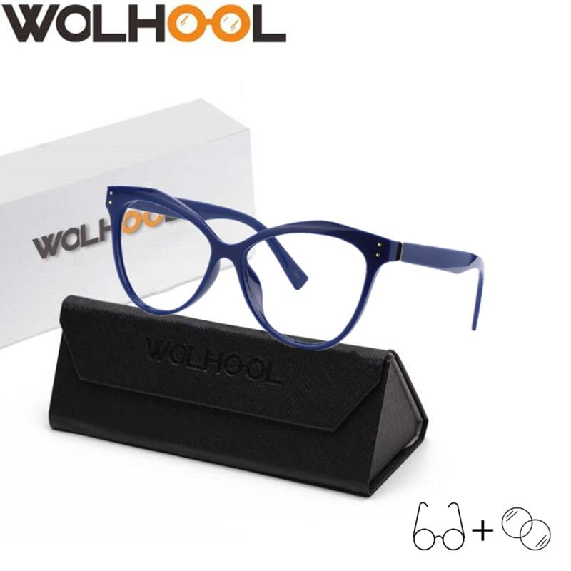 The Latest Cat Eye Eyeglasses Frame Eyewear Blue Navy Vintage Glasses Women Eyewear Cat Eye Optical Glasses Myopia Prescription Glasses