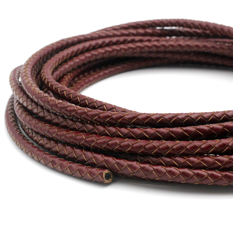 AaaZee 5 Yards 3mm Leather Bolo Cord for Necklace Bracelet Making Woven Braided Leather Strap for Jewelry Beading Maroon