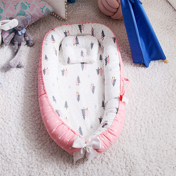 Portable Baby Crib Children's Cotton Cradle Folding Newborns Traveling Cots Striped Printed Child Lounger Bed Infant Playpen Bed