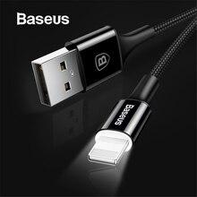 Baseus светодиодный кабель зарядного устройства для iPhone X 8 7 USB кабель для iPhone iPad Быстрая зарядка кабель зарядного устройства кабель для передачи данных для мобильного телефона