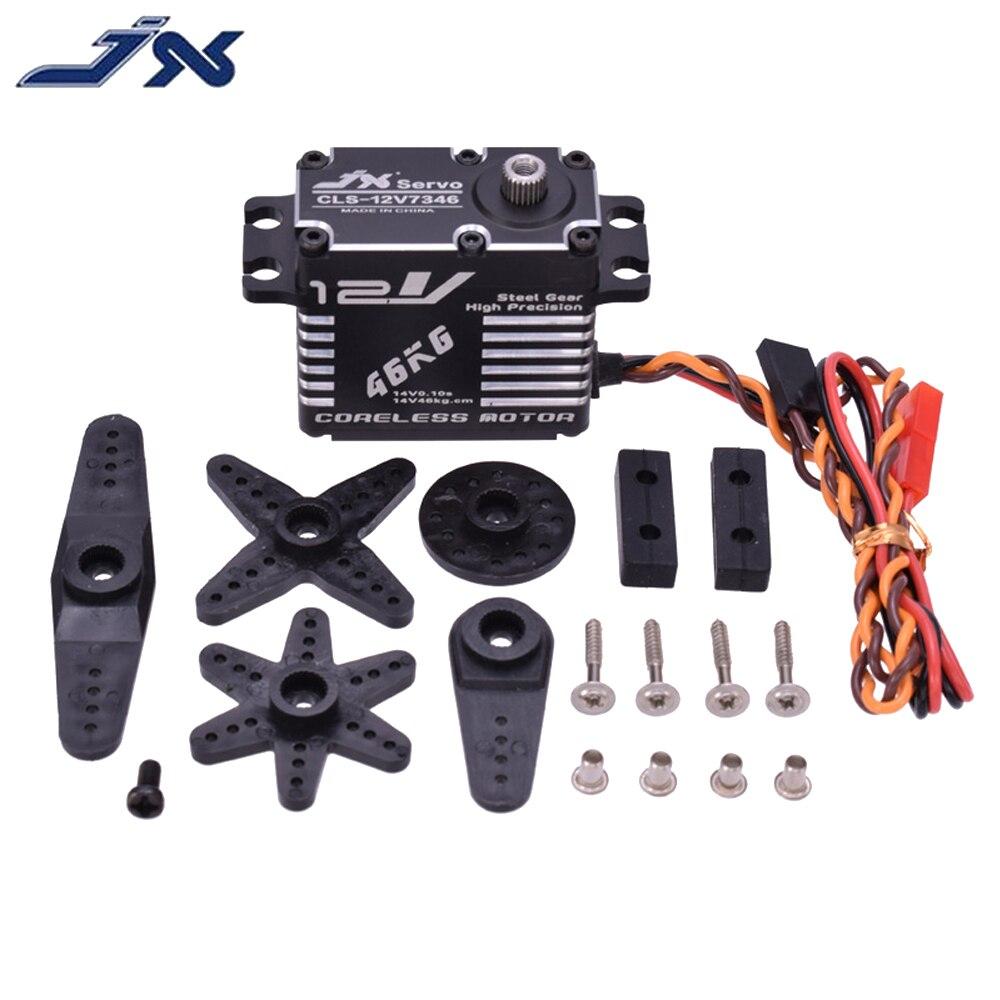 RC Servo,JX CLS-12V7346 High HV 12V 46KG Steel Gear Digital Coreless Servo With CNC Aluminium Shell (180°)