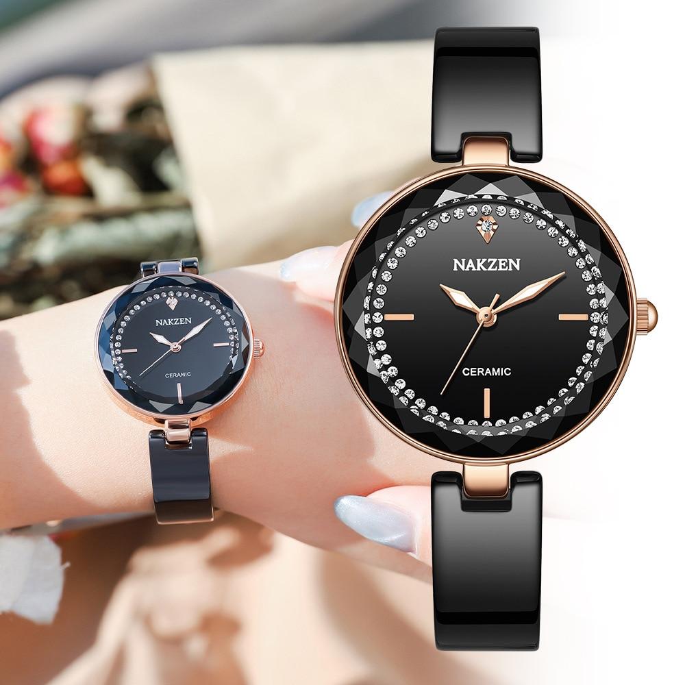 Senhoras relógio novo simples feminino relógios relogio relógio de luxo marca moda cerâmica à prova dceramic água nakzen feminino topo
