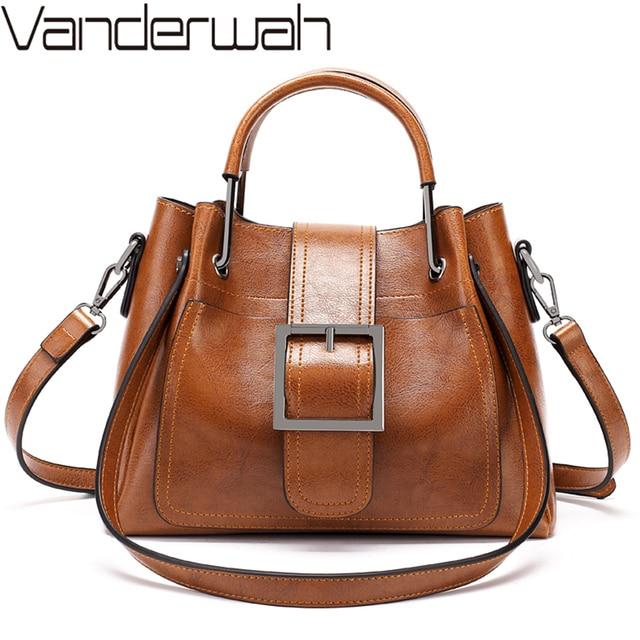 2019 Women Messenger Bag Vintage Shoulder Bag Women Handbags Designer Hight Quality Oil Wax Leather Tote Bags Ladies HandBag Sac