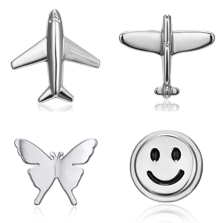 Ринху новый серебряный цвет самолет улыбка лицо бабочка маленькие Броши Булавки для женщин Девушка воротник с лацканами костюм булавка брошь бижутерия
