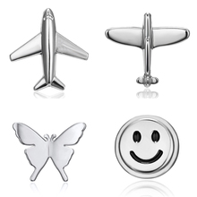 Rinhoo New Silver Color Plane Smile Face Butterfly Small Brooches Pins for Women Girl Lapel Collar Dress Suit Pin Brooch Jewelry