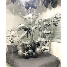 Ballons à couronne en argent en aluminium, ensemble de ballons avec nombres de 32 pouces pour décoration de fête d'anniversaire pour enfants de 18 20 30 40 50 ans