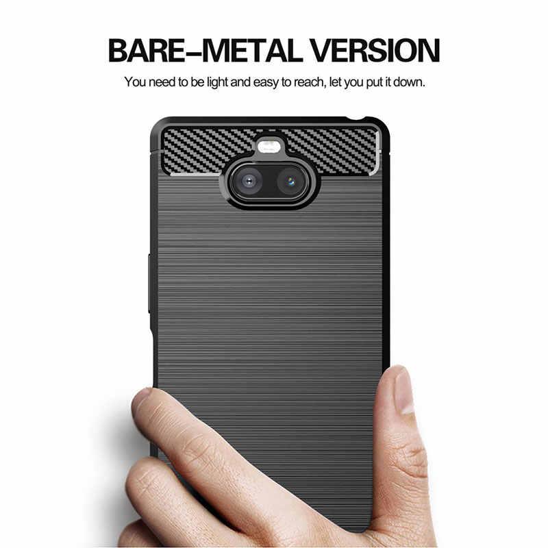 Novo caso de fibra de carbono para sony xperia xz5 xz4 compacto xz3 xz2 primum xz1 caso xperia 8 5 20 1 10 mais capa de silicone macio casos
