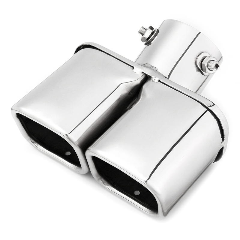 Car Auto Silver Stainless Steel Chrome Double Outlet Exhaust Tail Pipe Throat Liner Universal 63Mm Inlet|Exhaust  Assembly| |  - title=