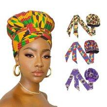 Novo africano ancara padrão de cetim linned bonnet feminino longa fita headwrap dupla camada lenço grande tamanho adulto capa de cabelo