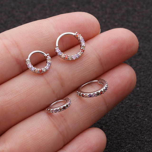 1PC 6 8 10mm Cz Nose Hoop Helix Cartilage Earring Daith Snug Rook Tragus Ring Ear.jpg 640x640 - 1PC 6/8/10mm Cz Nose Hoop Helix Cartilage Earring Daith Snug Rook Tragus Ring Ear Piercing Jewelry