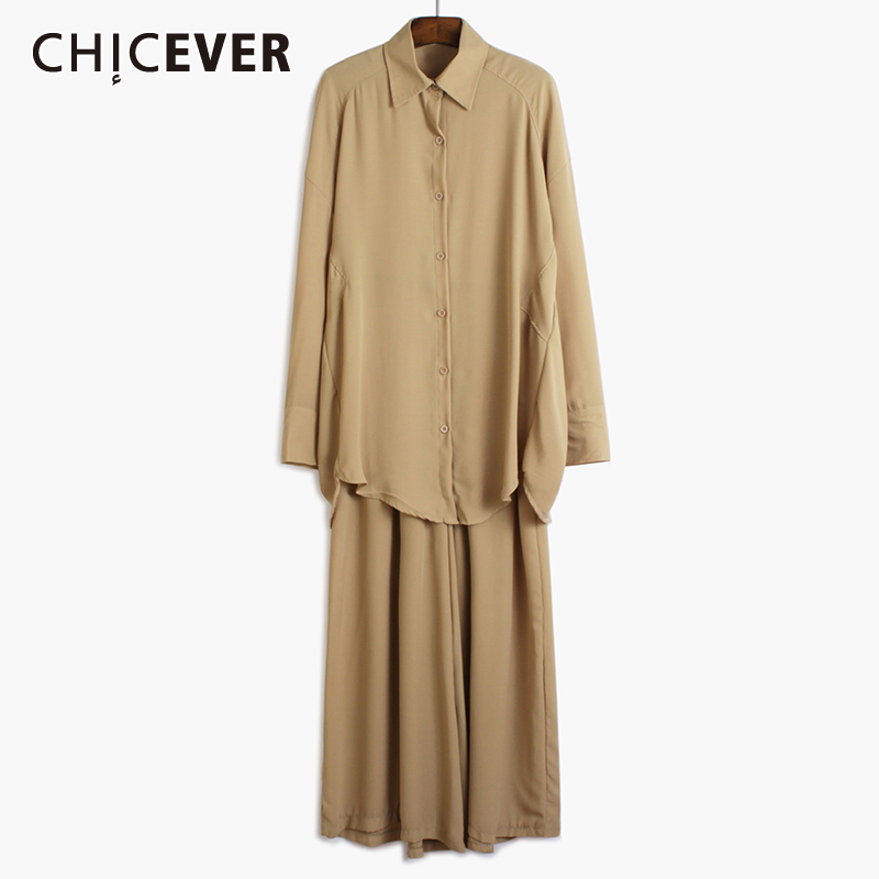 CHICEVER Casual Two Piece Sets Women Lapel Collar Long Sleeve Top High Waist Wide Leg Pant Loose Suit Female Clothing 2020 Tide