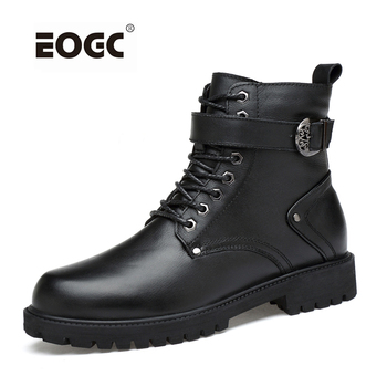 High Quality Plus Size Winter Shoes, Lace Up Warm Leather Men Boots, Two Style Fashion Men Autumn Shoes And Winter Boots mycolen genuine leather marten boots autumn high quality designer men shoes lace up cowboy ankle boots winter shoes obuwie