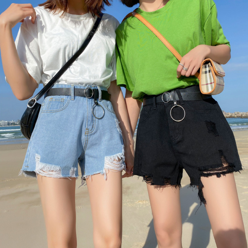 2020 Summer Sexy Women Denim Shorts Women High Waist Ripped Jean Female Loose Hole Jeans With Belt Casual Plus Size XS-2XL